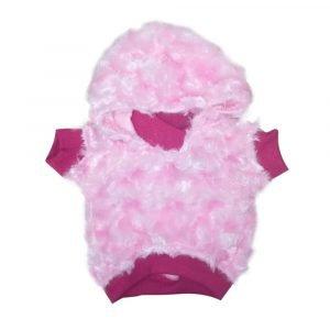 Saco para peludito rosado clarito con capucha
