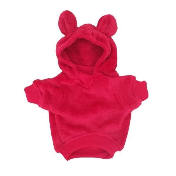 Saco para perrito con capucha de orejitas color rojo