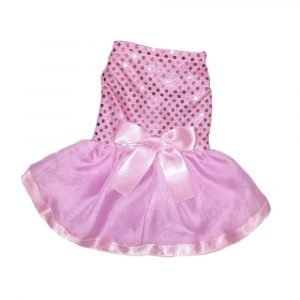 Vestido de fiesta para perrita color rosado