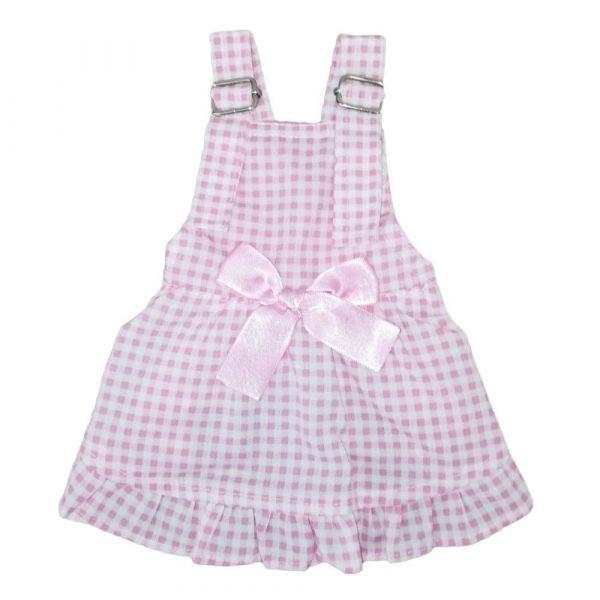 Vestidito overol para perrita color rosa con moño
